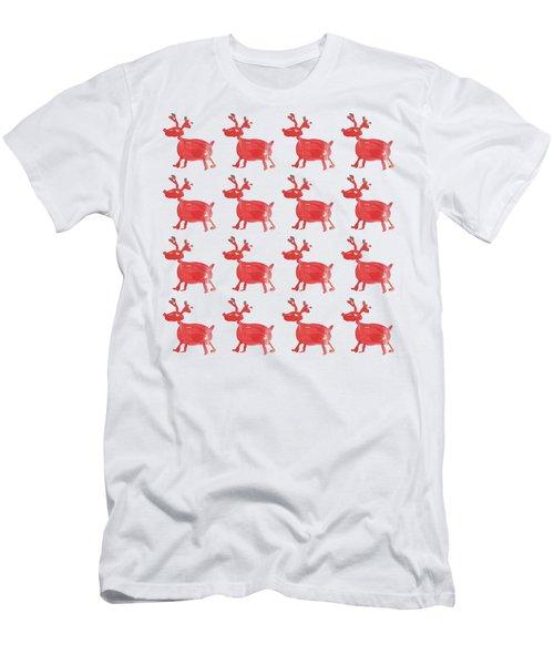Red Reindeer Pattern Men's T-Shirt (Athletic Fit)