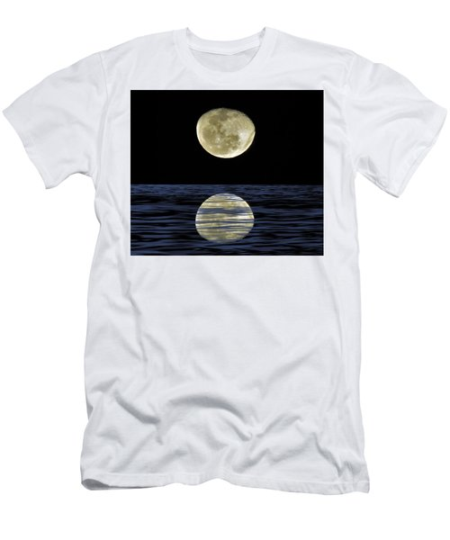 Men's T-Shirt (Athletic Fit) featuring the mixed media Reflective Moon by Joan Stratton