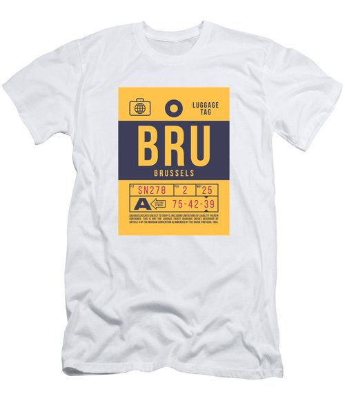 Retro Airline Luggage Tag 2.0 - Bru Brussels Belgium Men's T-Shirt (Athletic Fit)