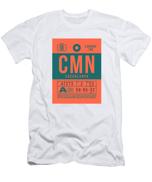 Retro Airline Luggage Tag 2.0 - Cmn Casablanca Morocco Men's T-Shirt (Athletic Fit)