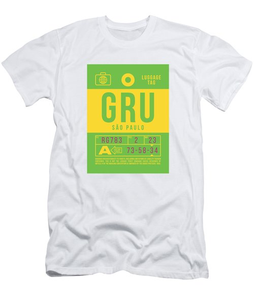 Retro Airline Luggage Tag 2.0 - Gru Sao Paulo Brazil Men's T-Shirt (Athletic Fit)