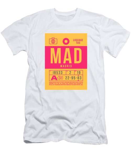 Retro Airline Luggage Tag 2.0 - Mad Madrid Barajas Airport Spain Men's T-Shirt (Athletic Fit)