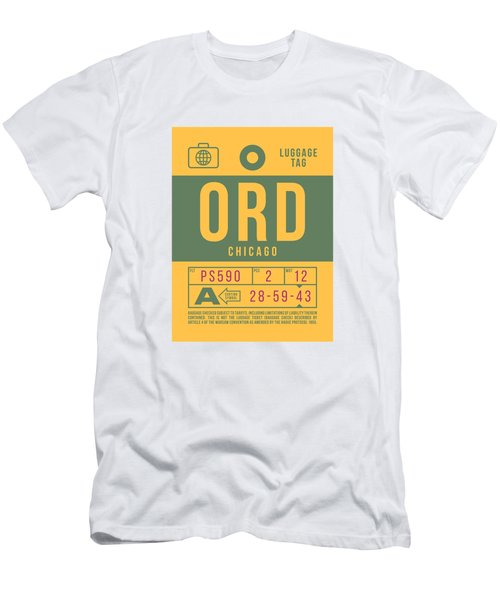 Retro Airline Luggage Tag 2.0 - Ord Chicago O'hare Airport United States Men's T-Shirt (Athletic Fit)