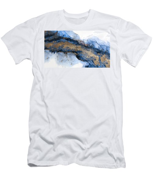 River Of Blue And Gold Abstract Painting Men's T-Shirt (Athletic Fit)