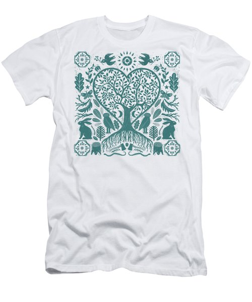 Rustic Early American Tree Of Life Woodcut Men's T-Shirt (Athletic Fit)