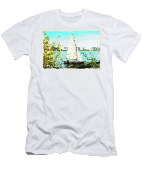 Sailboat On The River Watercolor Men's T-Shirt (Athletic Fit)