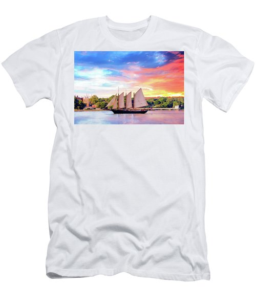 Sails In The Wind At Sunset On The York River Men's T-Shirt (Athletic Fit)