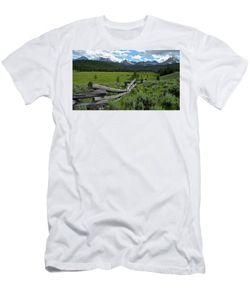 Sawtooth Range And 1975 Pole Fence Men's T-Shirt (Athletic Fit)