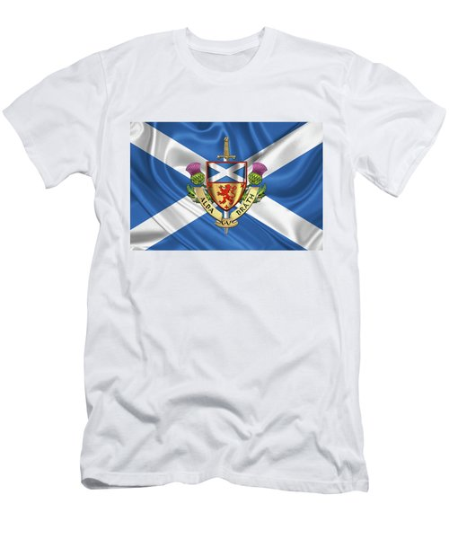 Scotland Forever - Alba Gu Brath - Symbols Of Scotland Over Flag Of Scotland Men's T-Shirt (Athletic Fit)