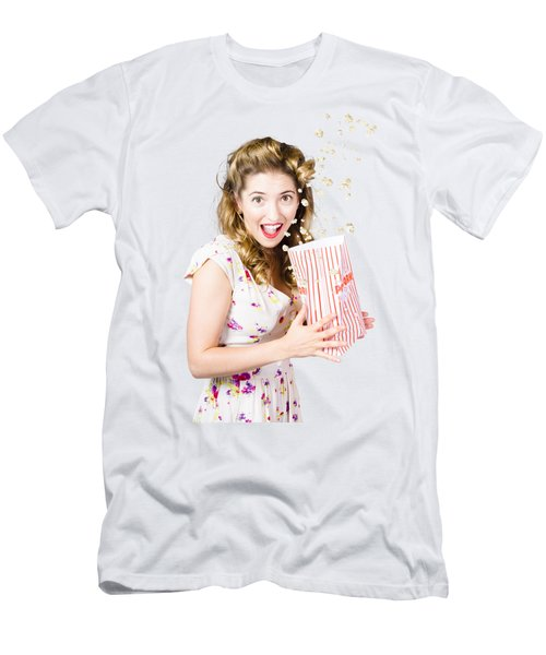Shock Horror Pinup Girl Watching Scary Movie Men's T-Shirt (Athletic Fit)