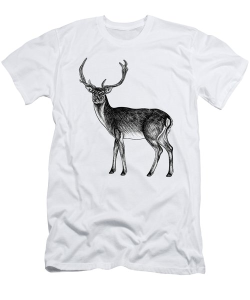 Sika Deer Stag - Ink Illustration Men's T-Shirt (Athletic Fit)