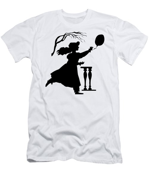 Silhouette Girl Chasing A Balloon Men's T-Shirt (Athletic Fit)