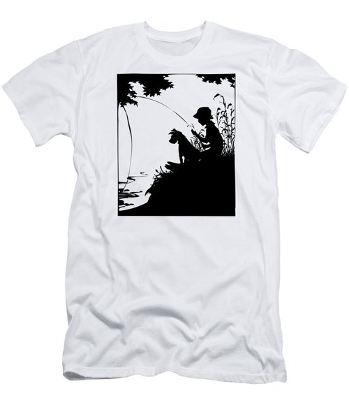 Silhouette Of A Boy Fishing With His Dog Men's T-Shirt (Athletic Fit)