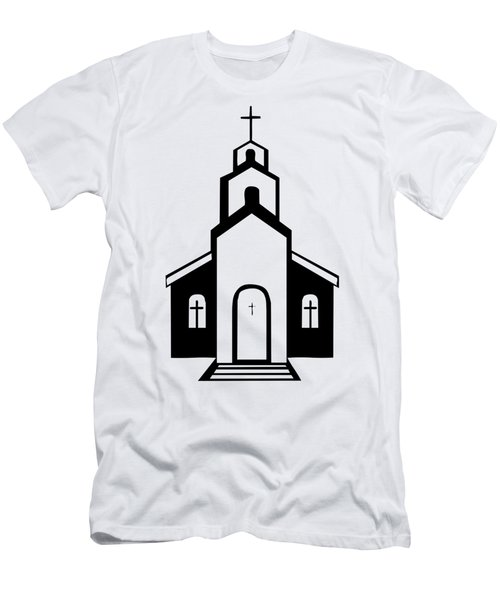 Silhouette Of A Christian Church Men's T-Shirt (Athletic Fit)