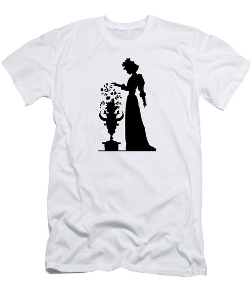 Silhouette Of A Victorian Woman And Flowers Men's T-Shirt (Athletic Fit)