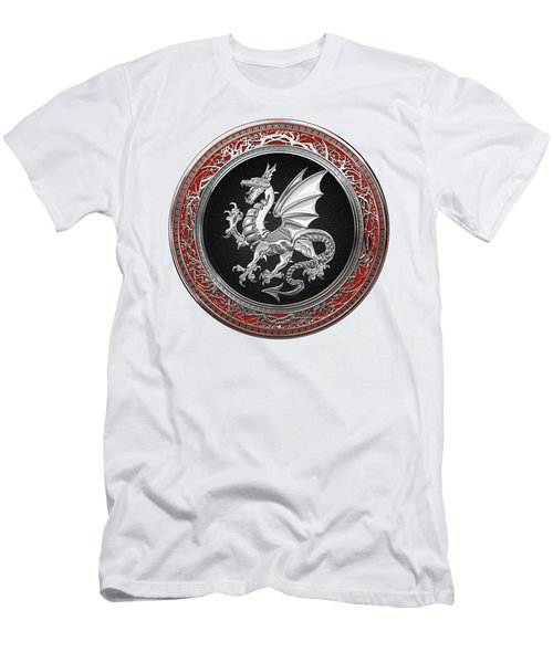 Silver Winged Norse Dragon - Icelandic Viking Landvaettir On Black And Silver Medallion Over White L Men's T-Shirt (Athletic Fit)