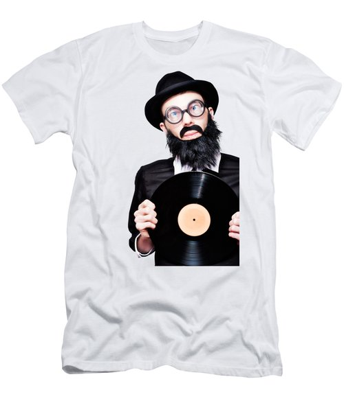 Sixties Retro Rock Man Holding Music Record Vinyl Men's T-Shirt (Athletic Fit)
