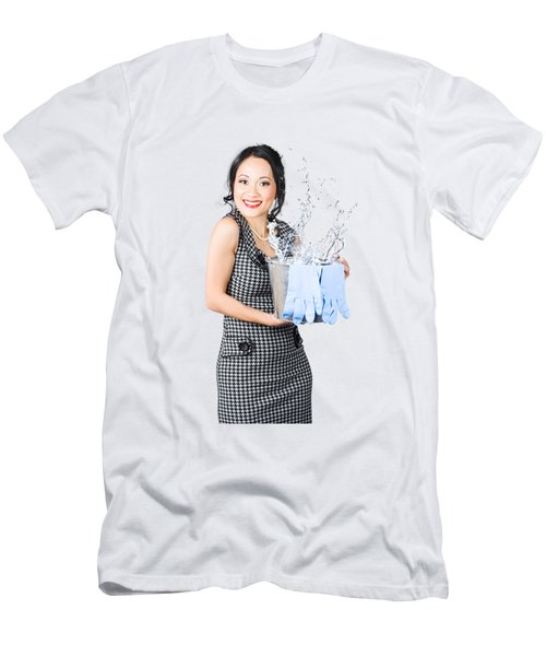 Smiling Female Cleaner Ready To Start Housework Men's T-Shirt (Athletic Fit)