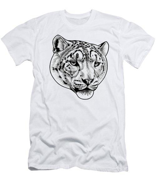 Snow Leopard - Ink Illustration Men's T-Shirt (Athletic Fit)