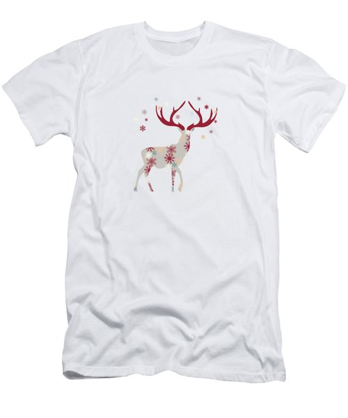 Snowflake Christmas Stag I Men's T-Shirt (Athletic Fit)