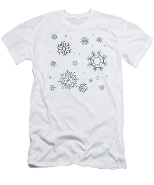 Snowflakes On Blue Men's T-Shirt (Athletic Fit)
