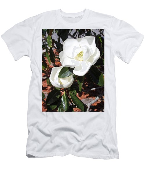 Snowy White Gardenia Blossoms Men's T-Shirt (Athletic Fit)