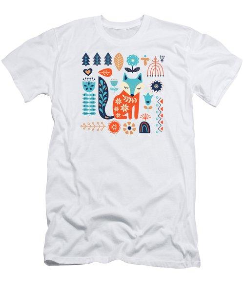 Soft And Sweet Scandinavian Fox Folk Art Men's T-Shirt (Athletic Fit)