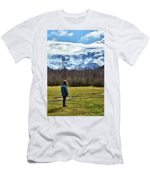 Men's T-Shirt (Athletic Fit) featuring the photograph Standing Before The Tronador Hill by Eduardo Jose Accorinti