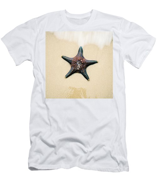 Men's T-Shirt (Athletic Fit) featuring the photograph Starfish On The Beach Sand. Close Up. by Rob D Imagery