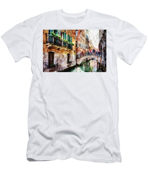 People On Bridge Over Canal In Venice, Italy - Watercolor Painting Effect Men's T-Shirt (Athletic Fit)