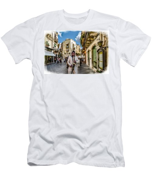 Street Music. Saxophone. Men's T-Shirt (Athletic Fit)
