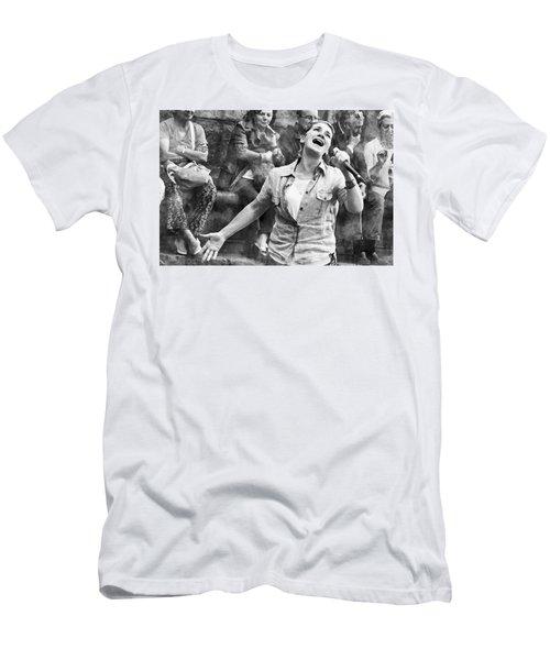 Men's T-Shirt (Athletic Fit) featuring the digital art Street Singer In Florence by Eduardo Jose Accorinti