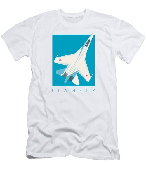 Su-27 Flanker Fighter Jet Aircraft - Cyan Men's T-Shirt (Athletic Fit)