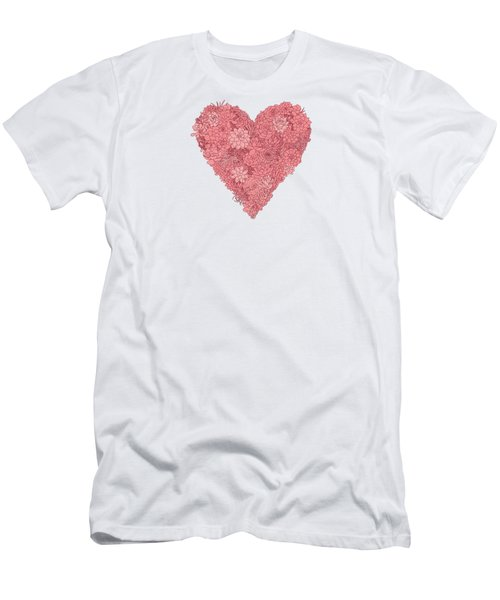 Pink Succulent Heart White Background Men's T-Shirt (Athletic Fit)