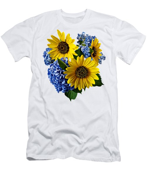 Sunflowers And Hydrangeas Men's T-Shirt (Athletic Fit)