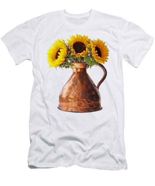 Sunflowers In Copper Pitcher On White Men's T-Shirt (Athletic Fit)