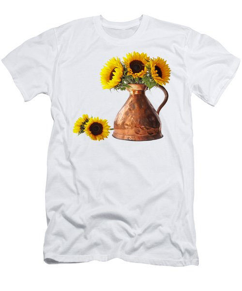 Sunflowers In Copper Pitcher On White Square Men's T-Shirt (Athletic Fit)