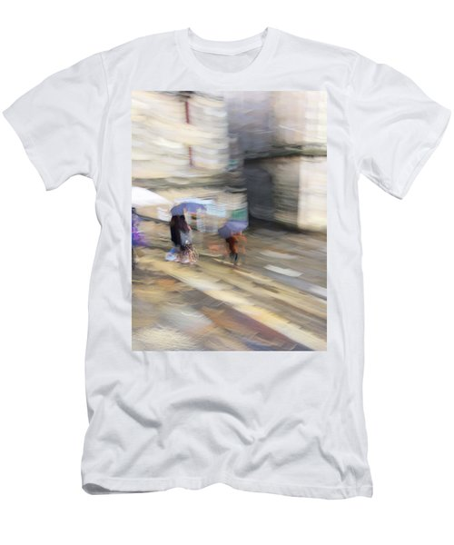 Men's T-Shirt (Athletic Fit) featuring the photograph Sunshower On The Stairs by Alex Lapidus