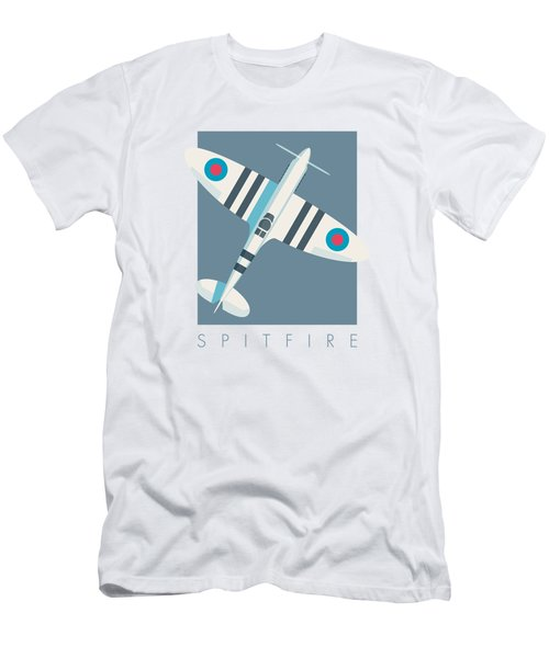 Supermarine Spitfire Fighter Aircraft - Stripe Slate Men's T-Shirt (Athletic Fit)
