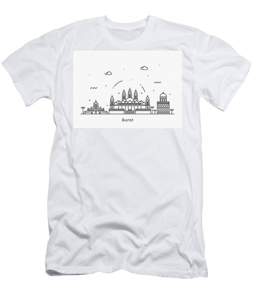 Surat Cityscape Travel Poster Men's T-Shirt (Athletic Fit)