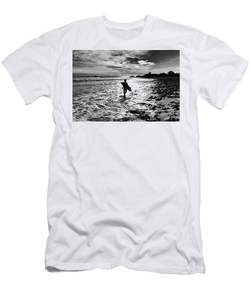 Men's T-Shirt (Athletic Fit) featuring the photograph Surfer Silhouette by John Rodrigues