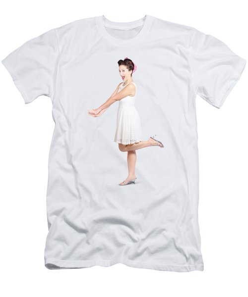 Surprised Housewife Kicking Up Leg In White Dress Men's T-Shirt (Athletic Fit)