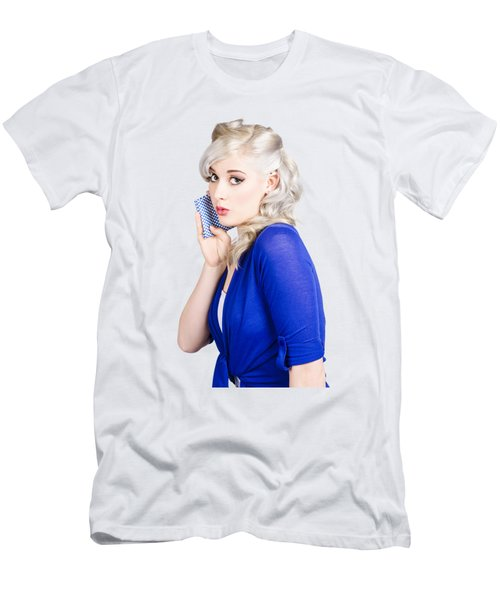 Surprised Pin Up Girl With Wash Cloth Men's T-Shirt (Athletic Fit)