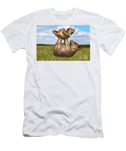 Teaching A Pig To Fly - Mother Pig In Grassy Field Holds Up Baby Pig With Flying Helmet To Teach It  Men's T-Shirt (Athletic Fit)