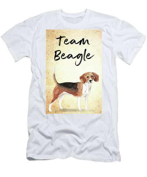Men's T-Shirt (Athletic Fit) featuring the painting Team Beagle Cute Art For Dog Lovers by Matthias Hauser