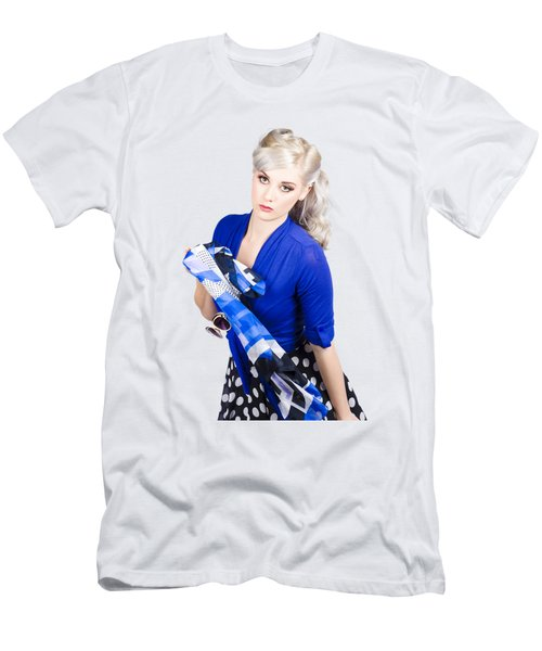 The Classic Pin-up Image. Girl In Retro Style Men's T-Shirt (Athletic Fit)