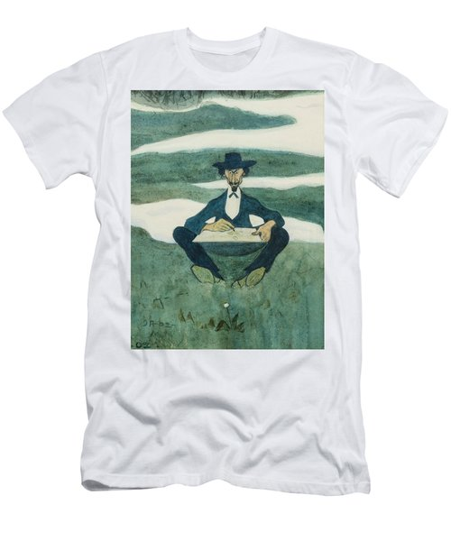 Men's T-Shirt (Athletic Fit) featuring the drawing The First Flower Of Spring. Portrait Of Ole Kruse by Ivar Arosenius