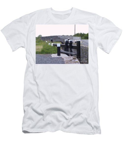 Men's T-Shirt (Athletic Fit) featuring the painting The Locks At Cloondara, Co. Longford by Val Byrne