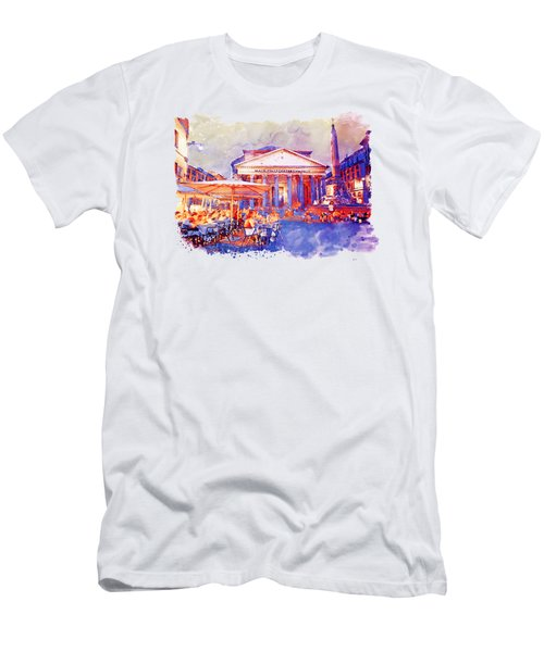The Pantheon Rome Watercolor Streetscape Men's T-Shirt (Athletic Fit)