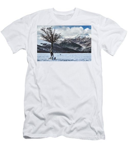 The Tree And The Beautiful Snowy Paradise Men's T-Shirt (Athletic Fit)
